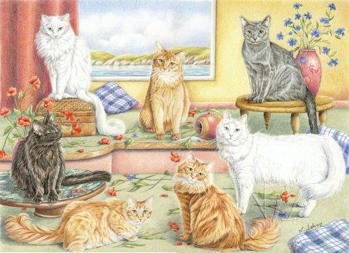 Les chats du bonheur - Commande Crayons de couleurs 40 x 30 cm