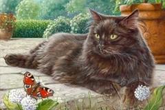 Le papillon - Commande Huile sur bois 6F - Vendue