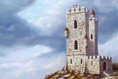 La tour abandonnée Huile sur bois - 6F - Vendu