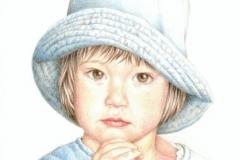 Le chapeau bleu - 20 x 30 cm Vendu