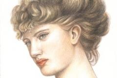 Portrait d'une Lady préraphaélite 20 x 30 cm