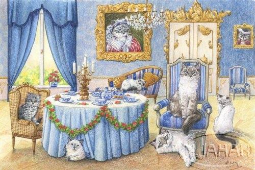Les chats sibériens - commande Crayons de couleur - 35 x 25 cm - vendu
