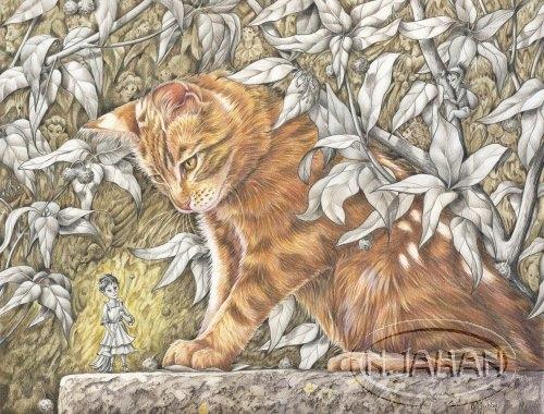 Peuple du feuillage - Crayons de couleurs 50 cm x 40 cm