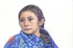 L'indienne de Zinacanta - Crayons de couleurs 20 cm x 30 cm