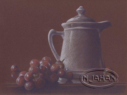 Café et raisins - Crayons de couleurs 20 cm x 30 cm