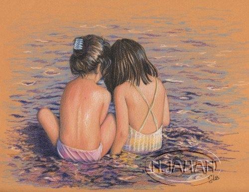 Secrets de vacances - Crayons de couleurs 20 cm x 30 cm