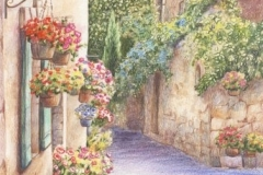 Village provençal - Crayons de couleurs 20 cm x 30 cm