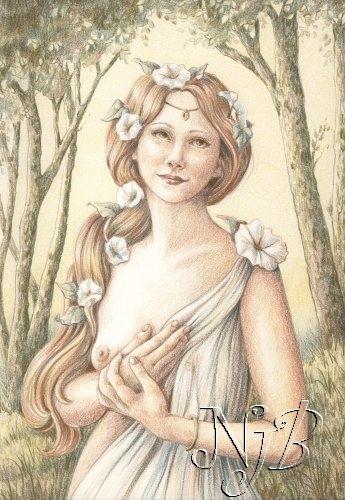 Femme en fleur - Dessin 30 x 20 cm