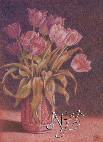 Les tulipes - Dessin 30 x 20 cm
