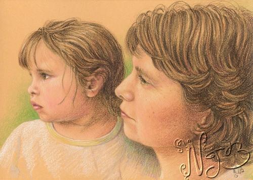 Mère et fille 1 - Dessin 20 x 30