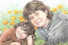 Mère et fille 2 - Dessin 30 x 40 cm