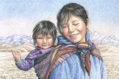 Sourires péruviens - Dessin 20 x 30 cm