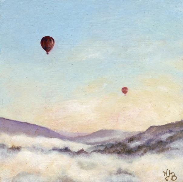 Ballons dans le ciel de Cordes Acrylique sur médium 15 x 15 cm