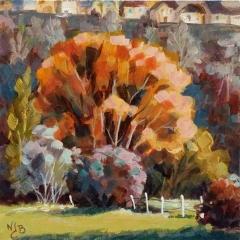 Le printemps arrive- Acrylique sur médium 12 x 12 cm