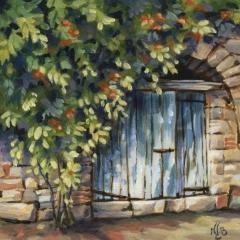 La porte bleue - Acrylique sur médium 15 x 15 cm