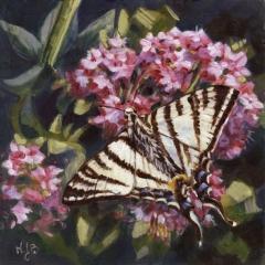 Papillon Flambé - Acrylique sur médium 15 x 15 cm