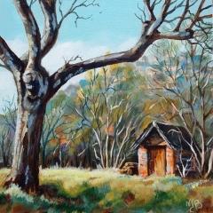 """La cabane - Acrylique sur médium 6"""" x 6"""""""