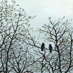 Le couple de choucas - Acrylique sur médium 15 x 15 cm