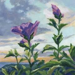 Hibiscus- Acrylique sur médium 12 x 12 cm