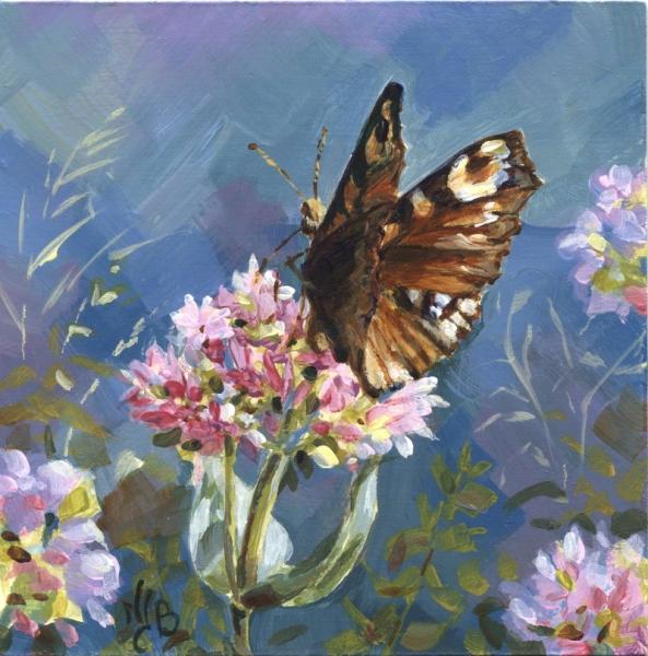 Papillon sur une valériane - Acrylique sur médium 15 x 15 cm