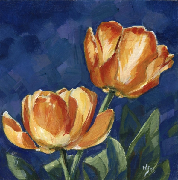 Tulipes- Acrylique sur médium 12 x 12 cm - Vendu