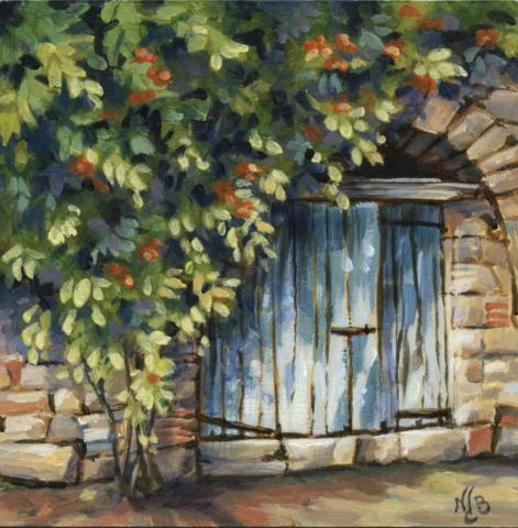 Blue gate, Acrylic painting
