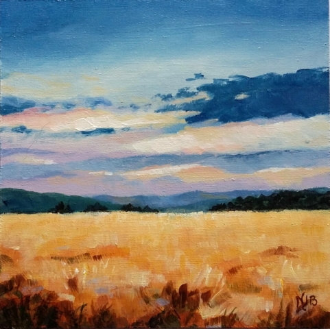 Sunset light, cereal field, acrylic painting