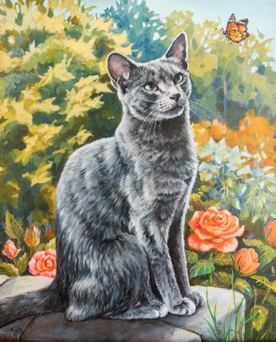 Acrylic portrait, cat, bleu russe