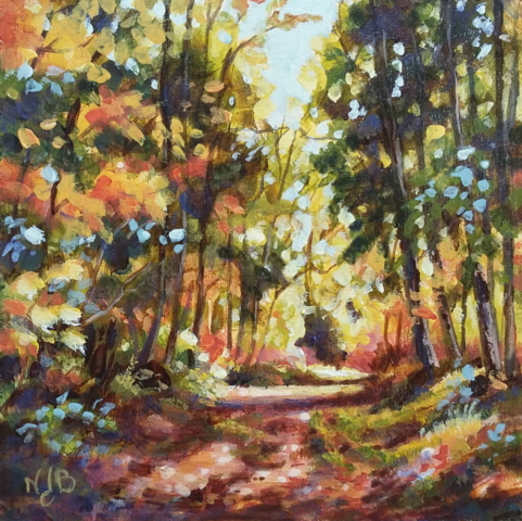 forest path, acrylic painting