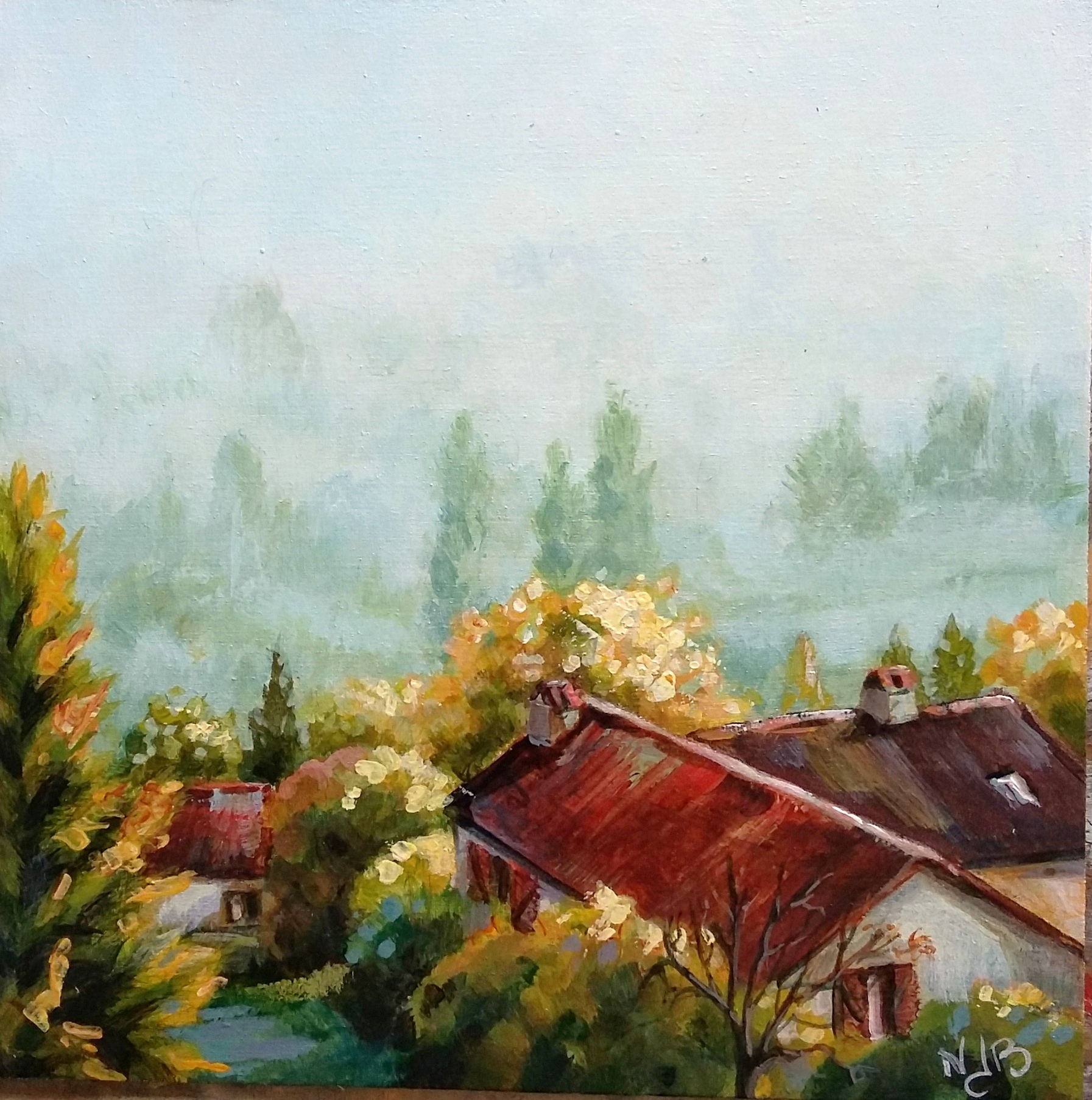 Misty morning, acrylic painting