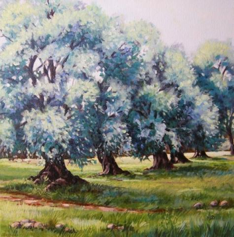 Olive trees , acrylic painting