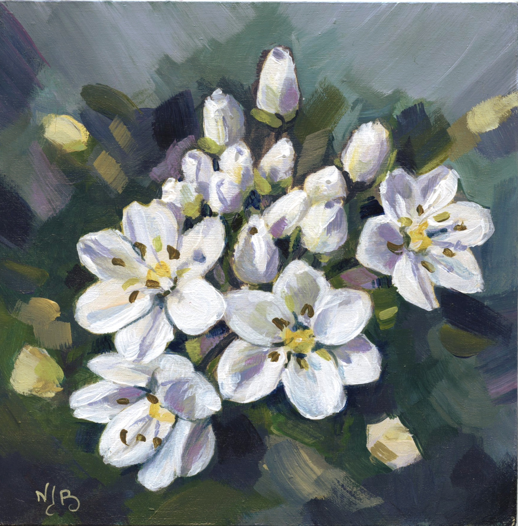 White flowers, acrylic painting