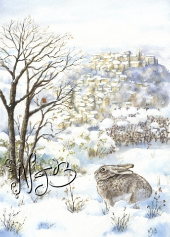 snowy landscape drawing