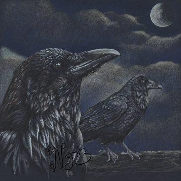 Corbeaux éclairés par la lune
