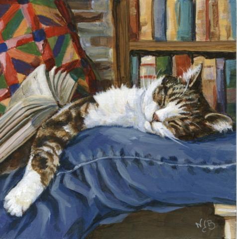 Cat nap, acrylic painting