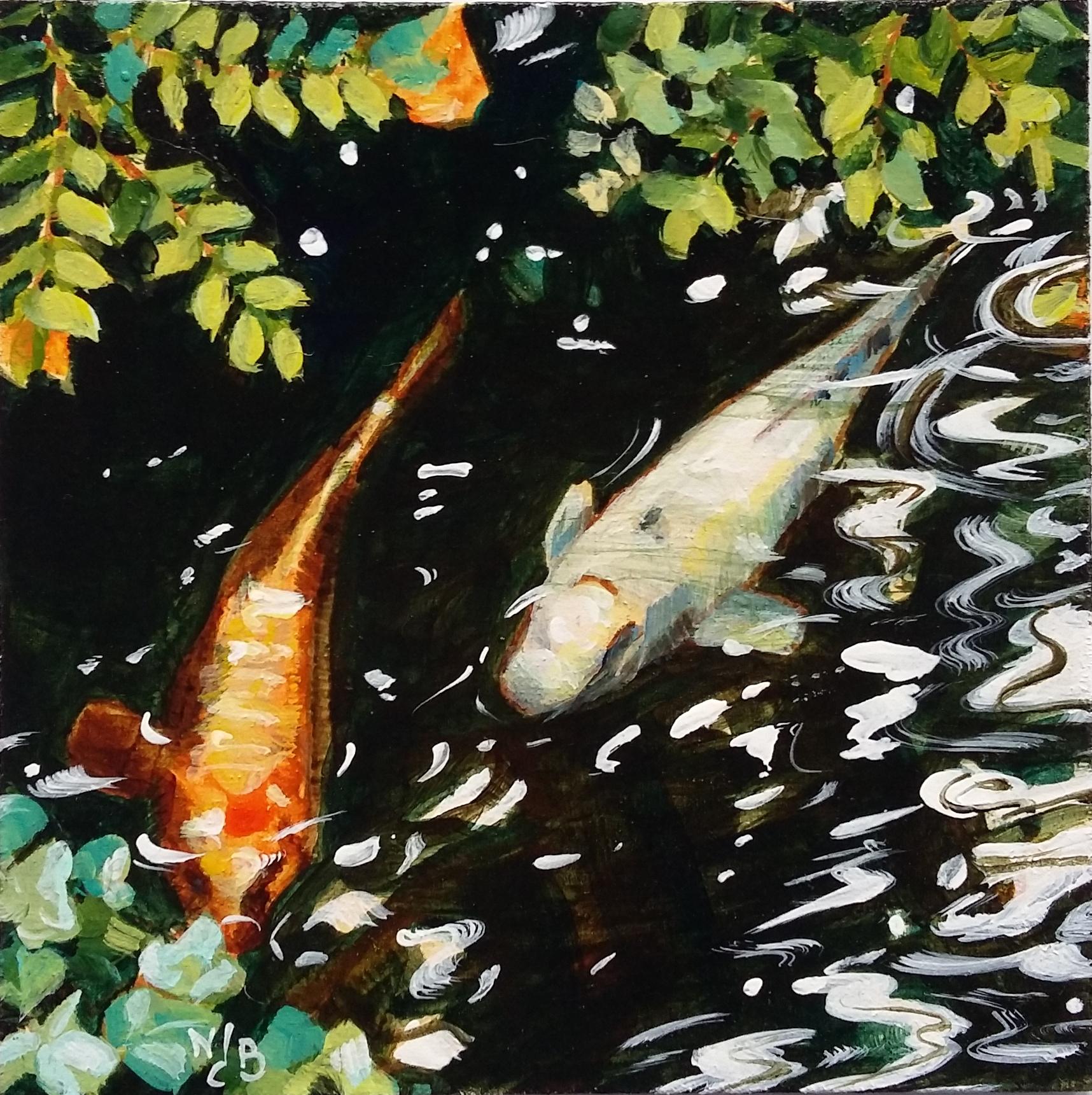 Koi fishes, acrylic painting
