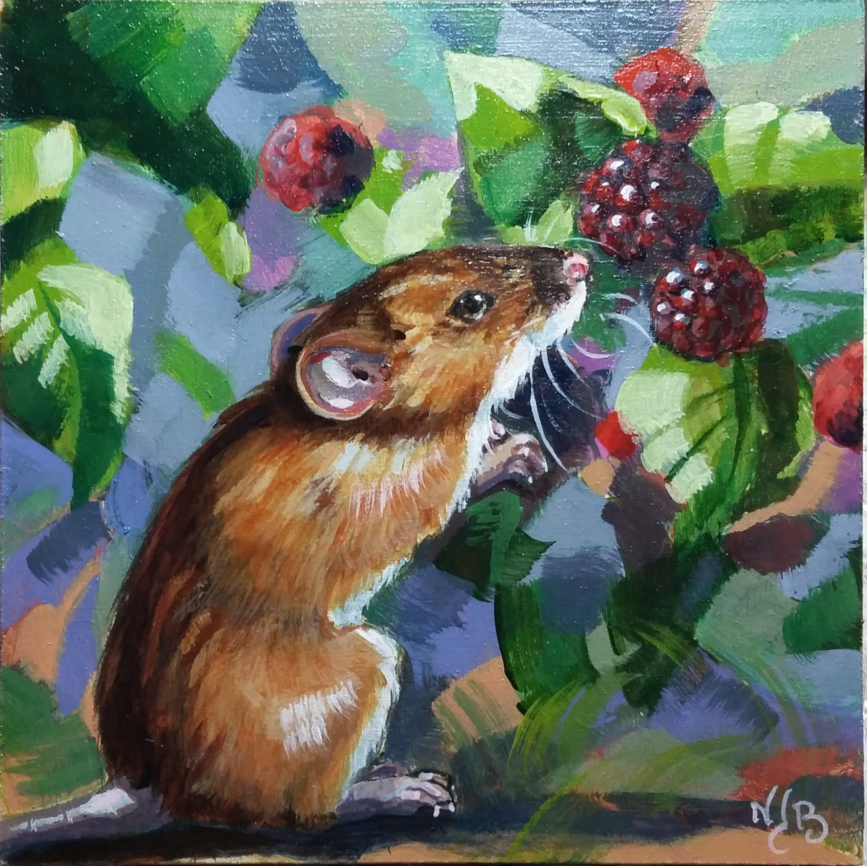 Mouse painting, acrylic painting