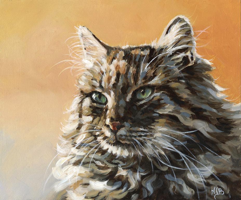 cat portrait, acrylic painting