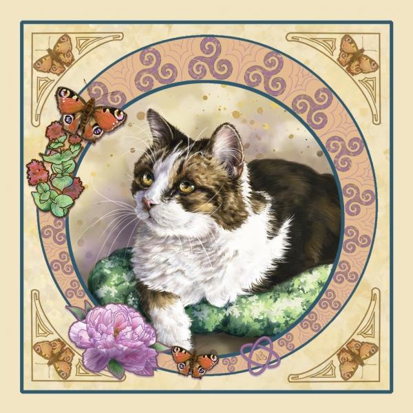Art nouveau cat painting