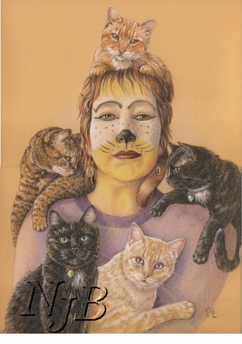Woman and cats portrait